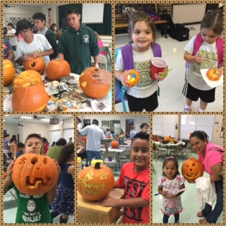 St. John Berchmans 4-Her's displaying their carved pumpkins.